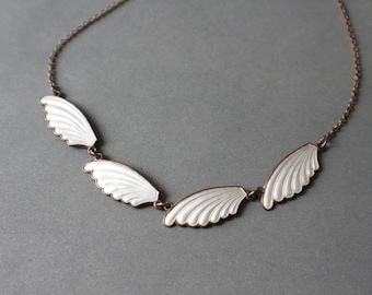 Mid century elegant Norwegian sterling silver and enamel necklace.