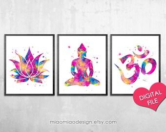 Buddhist Wall Art yoga studio decor spiritual print lotus buddha new age