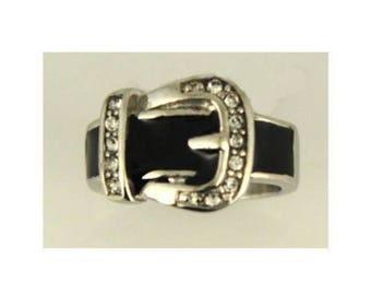 Women's Girls Stainless Steel Belt Buckle Fashion Ring Size 6,7,8,9,10 HEAVY MET