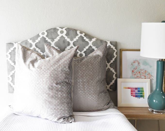 Ready to Ship! Madrid Grey Dorm Headboard, Camelback Shape