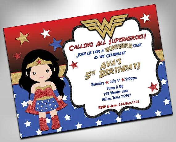 Wonder woman invitation superhero birthday superhero girls - Carte anniversaire super heros ...