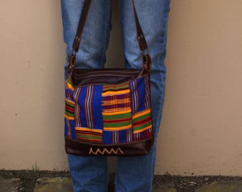Brown Leather Cross Body Purse - Leather shoulder bag - Ethnic leather bag Kente Cloth -  Soft Brown Leather Purse - Every Day Bag //02//