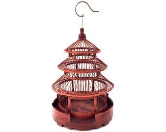 Vintage Large Wood Birdcage With Brass Hook - Pagoda Birdcage - Asian Birdcage - Large Wooden Birdcage - Oriental Birdcage - Vintage Bird