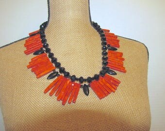 Deep Red Coral Spikes with Black Crystals