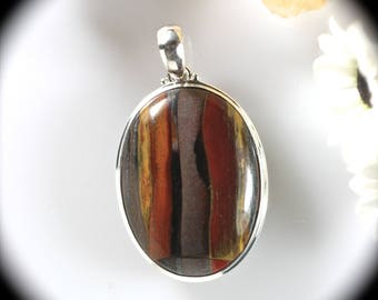 Tiger Iron gemstone sterling silver oval pendant 41x25mm