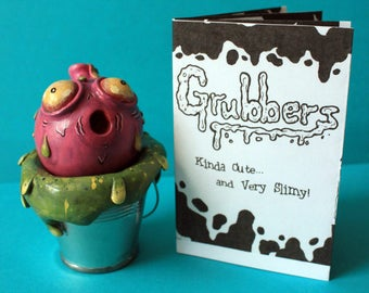 Polymer Clay Sculpture, Pink Grubber, Cute Slimy Monster, Handmade, Handpainted