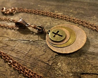 Cross Necklace, Mixed Metal Necklace, Boho Necklace