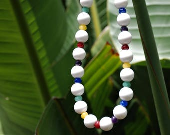 White multi colored Rainbow chunky beaded necklace gemstone necklace gemstone jewelry