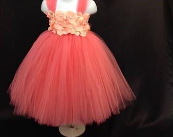 Coral Tutu Dress, Coral Flower Girl Tutu Dress, Flower Girl Tutu Dress, Coral and Peach Tutu Dress, Coral Peach Flower Girl Tutu Dress