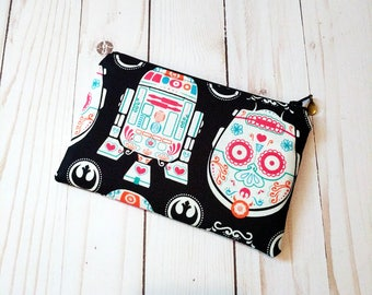 R2D2 and C3PO Sugar Skulls Small Zippered Pouch
