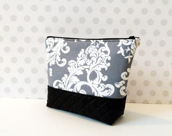 Gray Damask Large Makeup Pouch