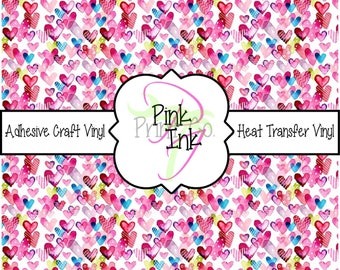 Valentine's Printed Vinyl, Heart Patterned Adhesive Vinyl and Heat Transfer Vinyl in pattern 1014