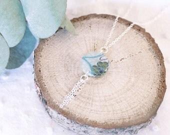 Collier blanc et dentelle vert clair - Argent 925