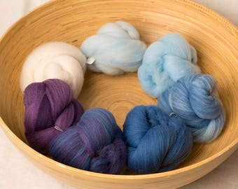 White to Blue to Purple Gradient set, perfect for spinning or felting (170236)