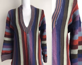 Sale Comfortable long 70's Bohohemian sweater Pullover sweater top colorful vintage sweater size Medium retro sweater long