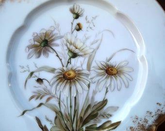 Haviland Hand Painted Daisy PLate CFH GDM Mark 1882 Dish
