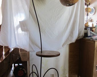 floor lamp with wood shelf and lamp shade in calabash gourd