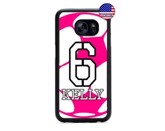 Personalized Number and Name Soccer Girl Pink Hard Rubber Case Cover For Samsung Galaxy S8 S7 S6 Edge Plus S5 S4 S3 NOTE 5 4 3 2 iPod 4 5 6
