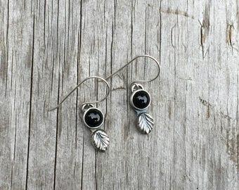 Sterling Silver Earrings, Black Onyx Earrings, Dangle Earrings, Gemstone Earrings, Black Onyx Jewelry, Silver Earrings, Black Earrings