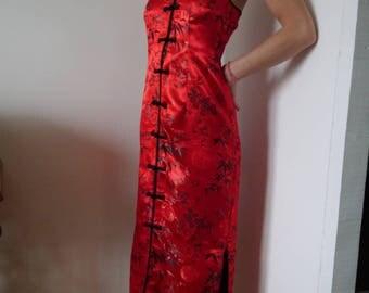 Long dress, Red satin Halter evening dress