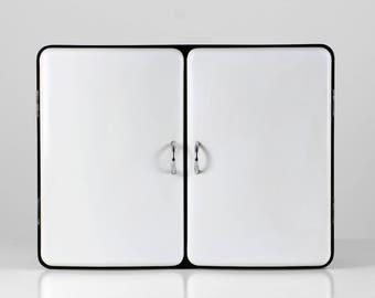 60s Milano cabinet, Milano Press Plastic, black white wall cabinet, 60s medicine chest