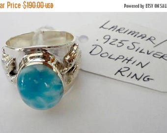 "ENDLESS SUMMER SALE Stunning Genuine Aaa Grade Larimar Men's ""Dolphin"" Ring .925 Sterling Silver  Free U.S. Shipping  U.S. Size 12"