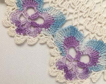 Vintage Hand-Crochet large Doilie with blue/purple Pansy edging