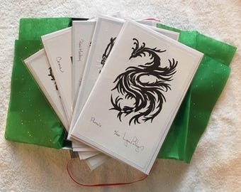 Your Choice...Assortment of Five Linocut or Woodcut Print Cards (both open and closed editions) in a White Gift Box
