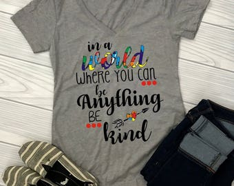 "Be Kind Iron On Transfer, Autism Shirts, Autism Puzzle Piece Boys and girls T-Shirt Transfer,""Be kind"" Autism Speaks PrintedTransfer"