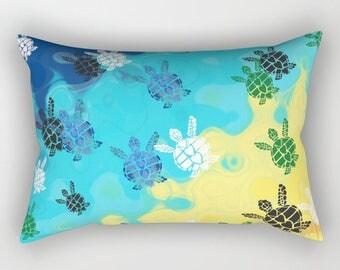 Baby Sea Turtle Pillow Case - blue yellow, bright colorful ocean,  coastal decor bedroom decor, surfer, honu, bedding