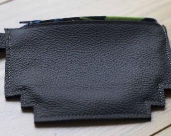 Grey genuine leather mens wallet