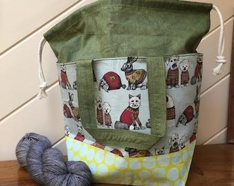 "Medium Drawstring Project Bag for Knitting or Crochet, Yarn Tote, Shawl-Sized Bag, Craft Storage ""Sweater Weather"""