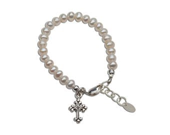 Sterling Silver Bracelet with Freshwater Pearls and Cross for First Communion or Baptism Gift for Girls (011)