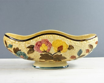 Ceramic Planter, Indian Tree Hand Painted Flower Vase, Boat Shaped Vase, H J Wood Ltd. No 701. Made in England