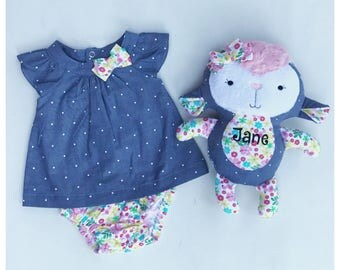 Keepsake Lamb/ Stuffie/ Stuffed Animal/ Made with Baby's Outfit/ Blanket/ Burp Cloth/ Memory Stuffie/ Handmade