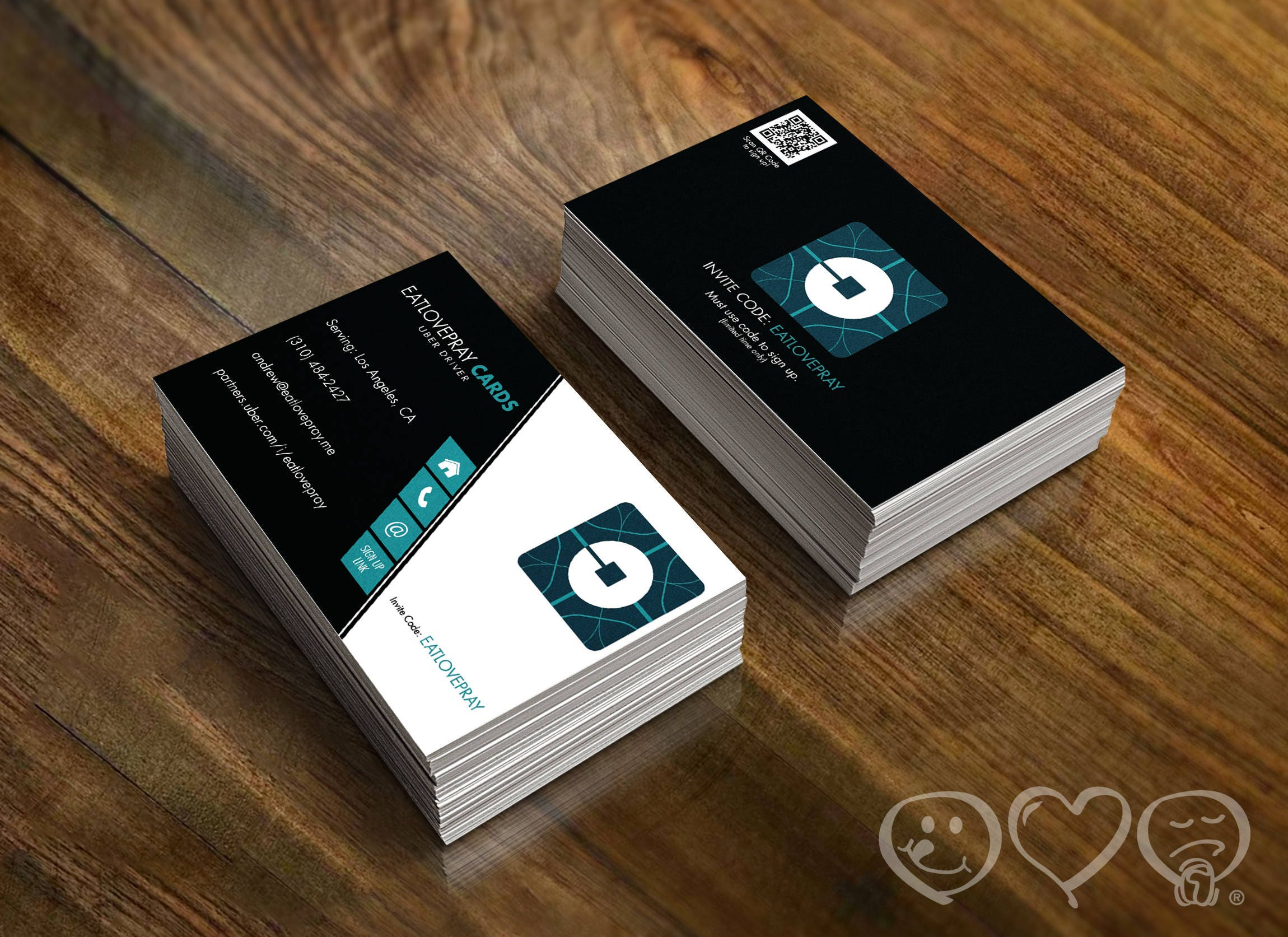 Uber Driver Business Cards 16pt UV coated Gloss on the