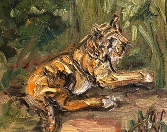 "Summatran Tiger, 4"" x 4"", oil on panel"