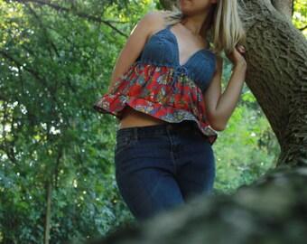 bohochic blue hippie top, crochet gypsy style tank top, bohemian  ruffle top
