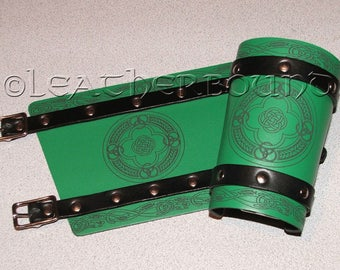 Leather Bracers in Green and Black with engraved Celtic image