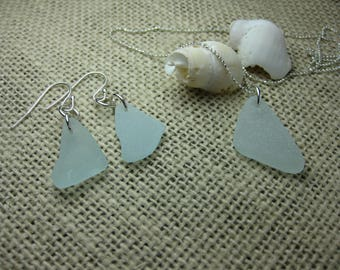 sea glass sterling jewelry set, aquamarine, sea glass, seaglass necklace & earring set, SeaglassWithATwist