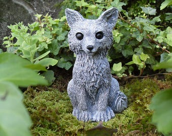 Fox Statue, Fox, Grey Fox, Gray Fox Statue, Garden Fox Statue,