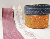 Vintage Ribbon Spool Lot, 4 Vintage Ribbons - Square, Pink, Blue and Orange Floral,  A Lion Product & A Princo Product Spools Made in USA