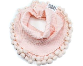Peachy Pink and Pale Pink Large Pom Pom Baby Girl Scarf Bandana Style Bib / Pom Pom Bib / Cotton Gauze Baby Girl Bib / Drool Bib