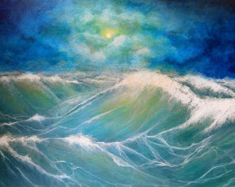 Ocean wall art, seascape of waves art print painting, ocean moon storm artwork, Original art by Nancy Quiaoit at Nancys Fine Art.