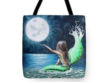 Mermaid tote bag, mermaid purse,  full moon beach tote, original painting by Nancy Quiaoit