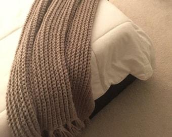 SPRING SALE Cafe au Lait Beige Lightweight Crocheted Throw Blanket With Fringe
