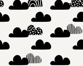 On A Cloudy Day Fabric - Monochrome FREE SHIPPING!