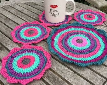 Set of 4 crochet coasters and 1 doily