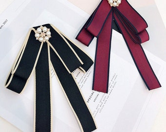 women bow ribbon crystal brooch patch applique clothing decoration patch