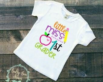 Little Miss 1st Grader Kid's T-Shirt- First Day of School T-Shirt- First Day of 1st Grade Shirt- Girl First Grade Shirt